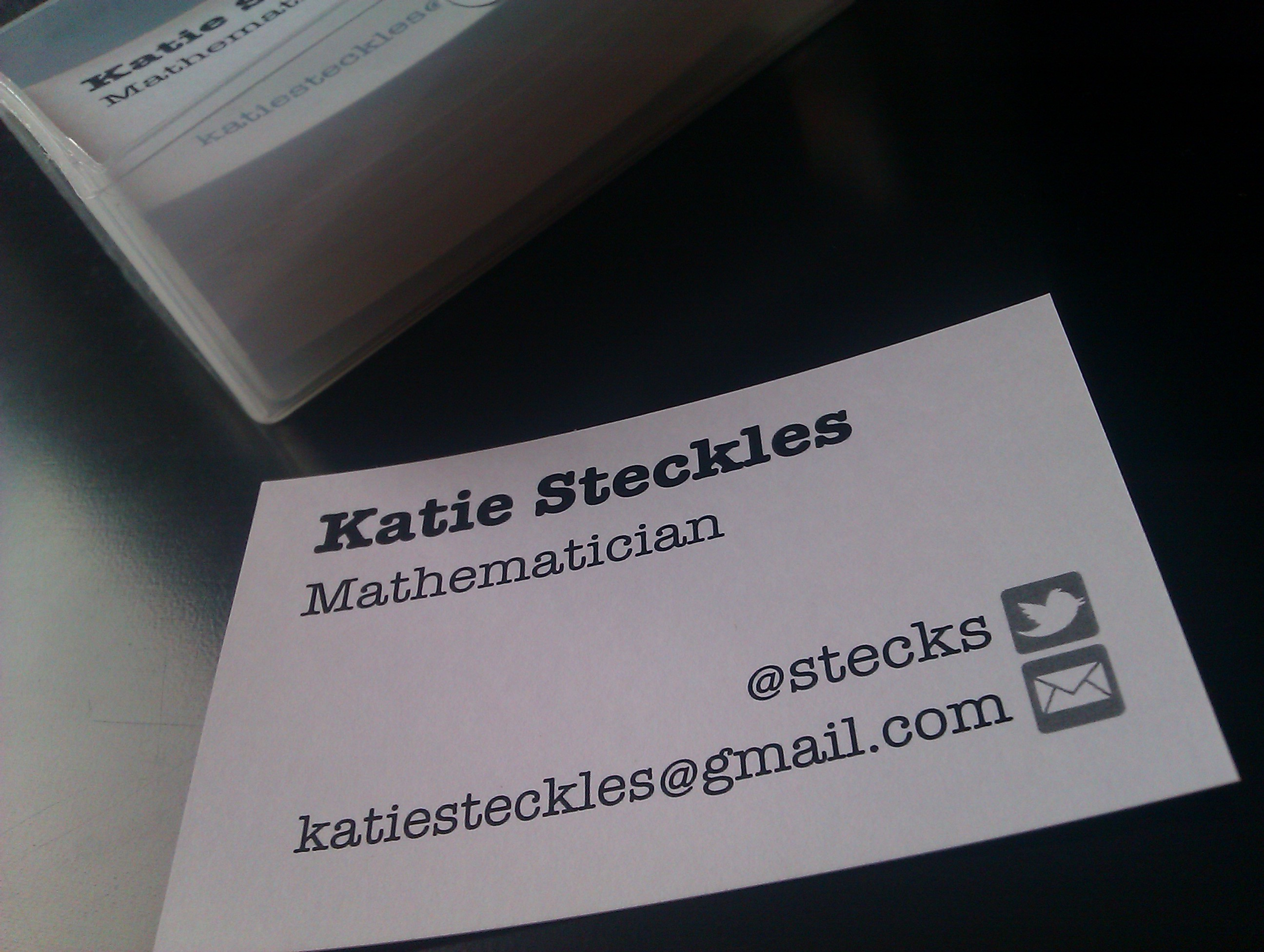 what is a mathematician the aperiodical katie s business card