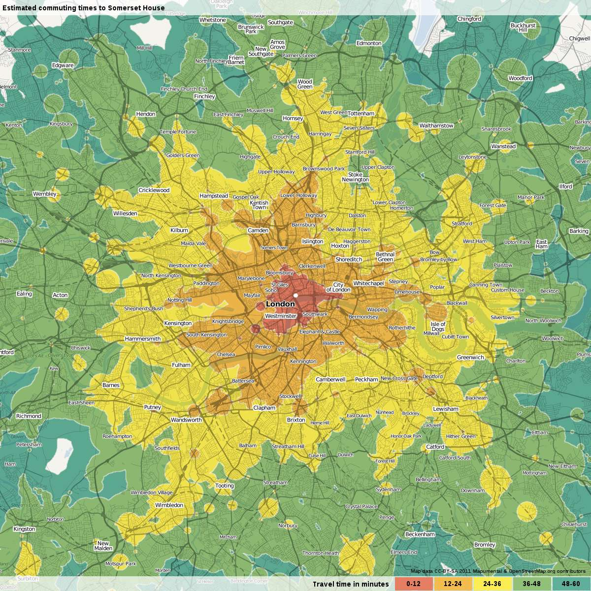 Map of travel times to Somerset House in London from surrounding area.