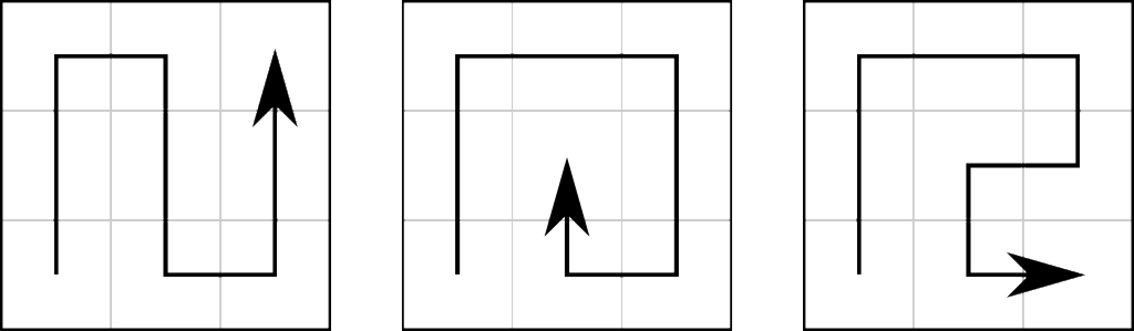 Paths through a 3x3 square