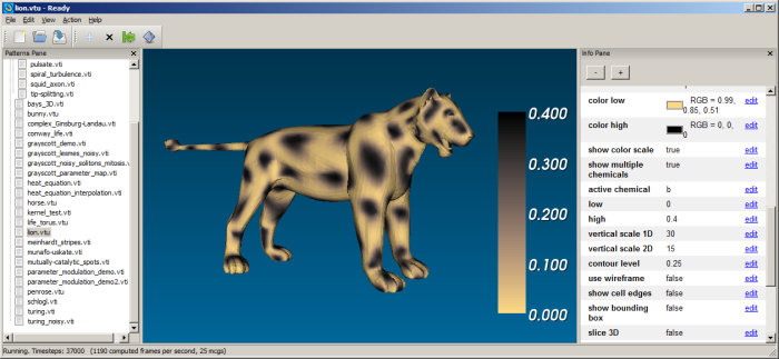 Screenshot of Ready 0.3, showing a simulation of a reaction-diffusion system on a lion's fur