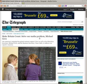 Screenshot of Telegraph webpage showing arithmetic errors on blackboard