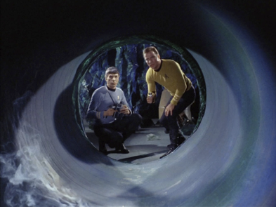 Spock and Kirk inspect the tunnels in 'The Devil in the Dark'