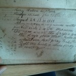 "Opposite the title page. Mary Watson's ""this is my book"" poem, and someone's started writing out a times table."
