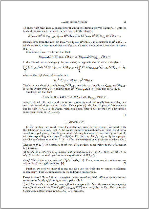 A page from the preprint of Scholze's paper on the arXiv