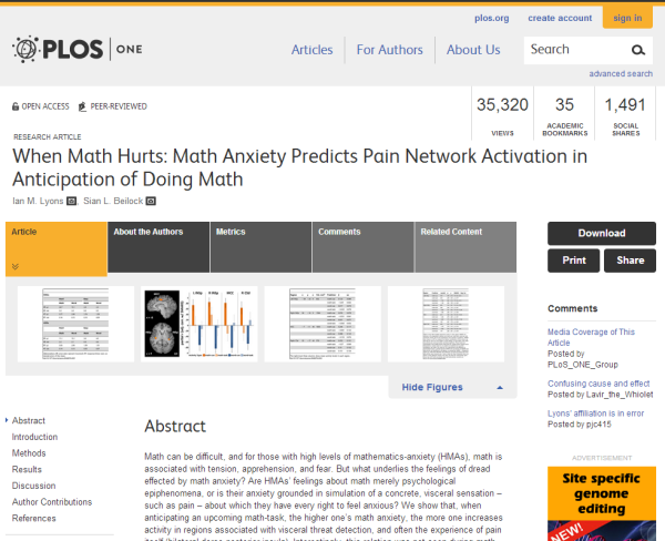 An article in PLOS ONE