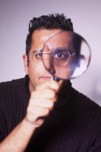 That picture of Simon Singh that's everywhere and you can't actually tell what he looks like in it