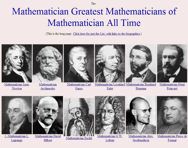 mathematician greatest mathematicians of all time