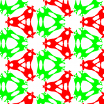 p3m1: Three centres of rotation by 120 ̊ and several reflections