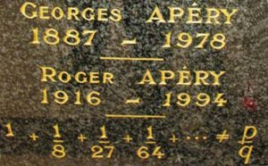 Apéry's gravestone - Image from St. Andrews MacTutor Archive