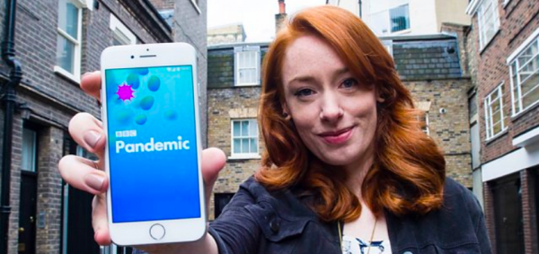 Hannah Fry showing off the Pandemic mobile app