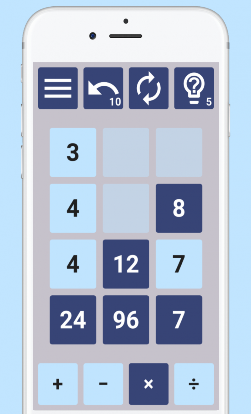 Screenshot of Number Drop game, showing a standard game board in play