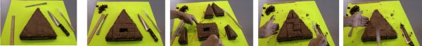 5 steps of cutting a triangular cake
