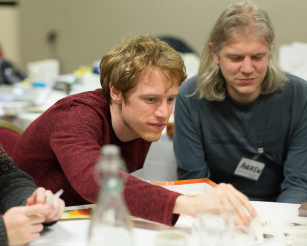 Paul and Andrew enjoying some maths; Photo by Steve Kirkby (steve.kirk.by)