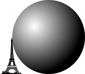 A picture of a sphere twice the height of the Eiffel Tower (Eiffel Tower for scale)