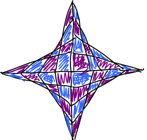 "A ""star"" made from parabolic curves, coloured in"
