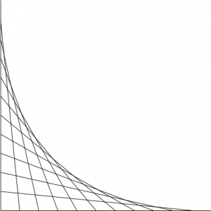 Two orthogonal lines, with lines drawn between them