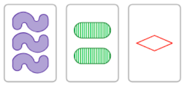 Three SET cards, forming a 0-alike SET