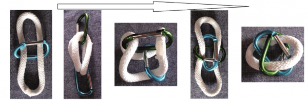 Arranging the Borromean rope trick with three carabiners