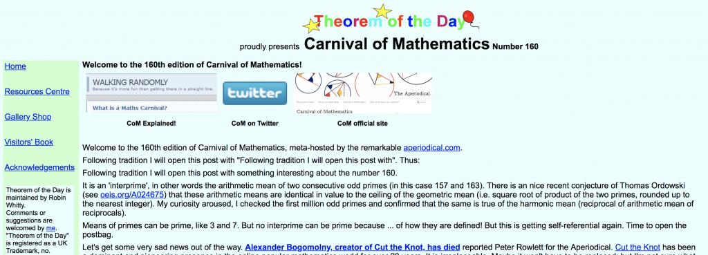 Carnival of Mathematics #160 (screenshot of post)