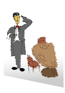 A drawing of a waiter looking confused