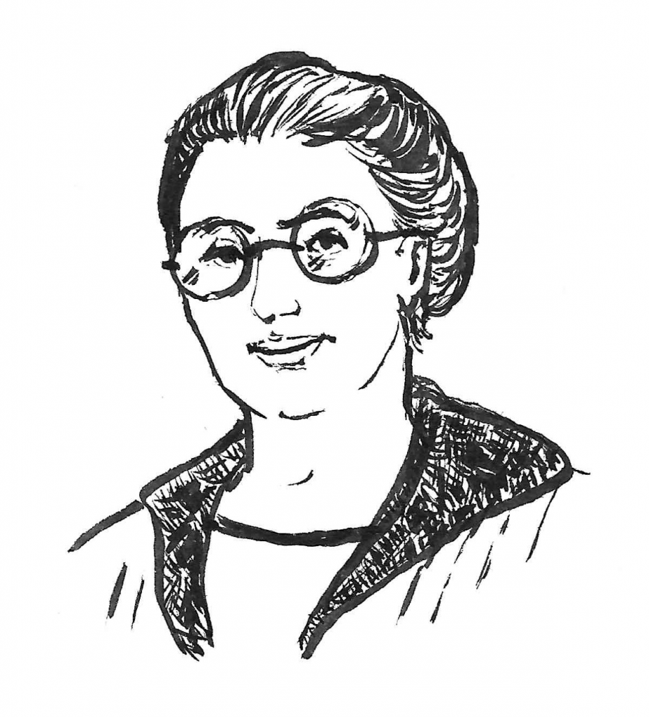 Line drawing of Emmy Noether