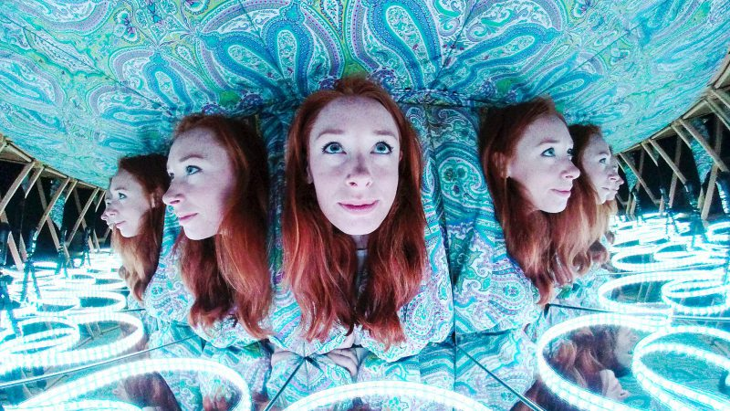 Hannah Fry's face in a kaleidoscope. Screengrab from the programme