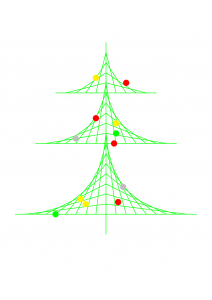 Christmas tree, made using parabolic curves in TikZ