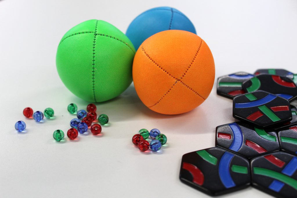 Juggling balls, beads and tiles