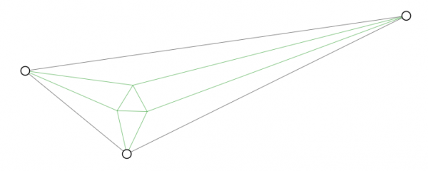 A scalene triangle with an equilateral triangle constructed from the angle trisectors