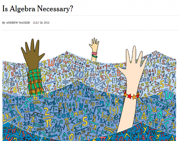 "Cover image for article titled ""Is Algebra Necessary"" by Andrew Hacker"