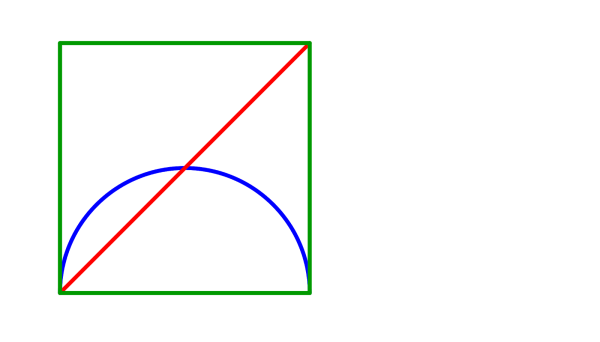 A square, a semicircle aligned with the bottom side, and a diagonal