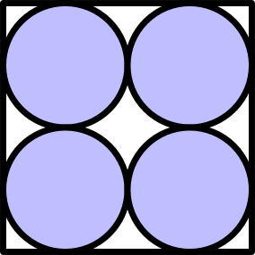 Four disks packed into a square, arranged in a 2 by 2 grid