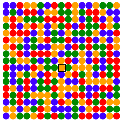 The same grid of coloured dots. The centre dot has changed colour