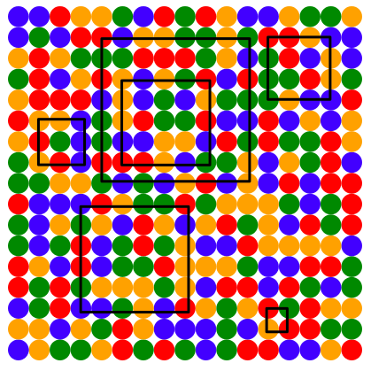 The grid of coloured dots, with some squared of different sizes drawn on it