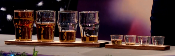 A line of glasses labelled 1/2, 1/4, 1/8, and so on