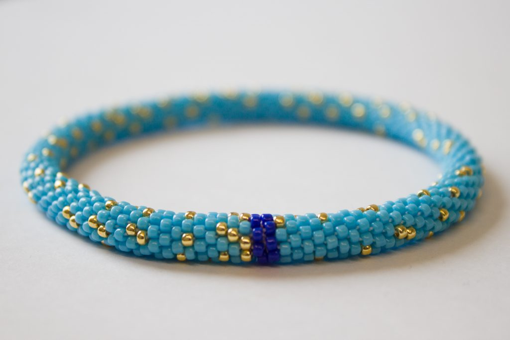Bead crochet bracelet showing distribution of primes mod 7