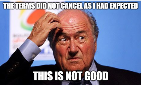 """Sep Blatter scratching his head. Caption """"The terms did not cancel as I had expected. This is not good"""""""
