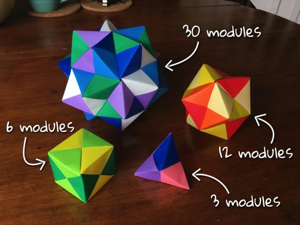 Colourful origami models labelled 3, 6, 12 and 30 modules.