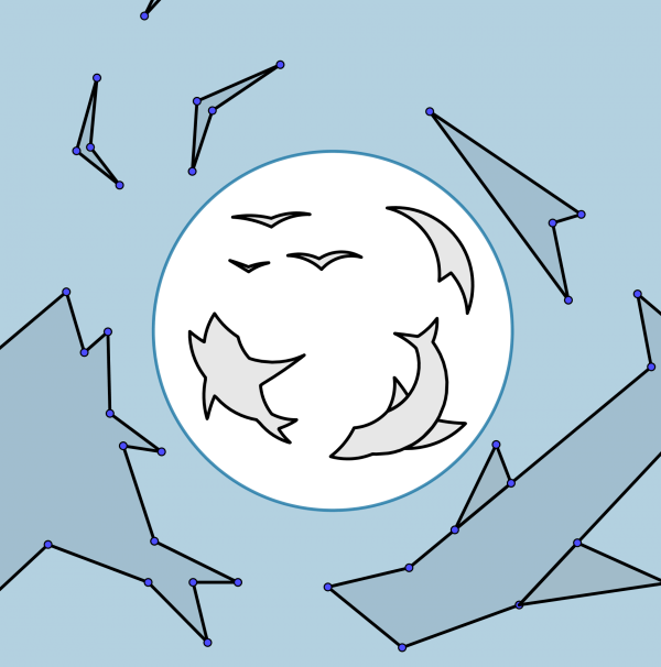Some polygons which, when reflected in a circle, look like sharks and birds