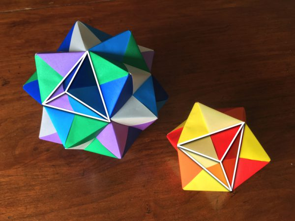 Origami stellated octahedron and icosahedron. The stellations are the same shape on both models.