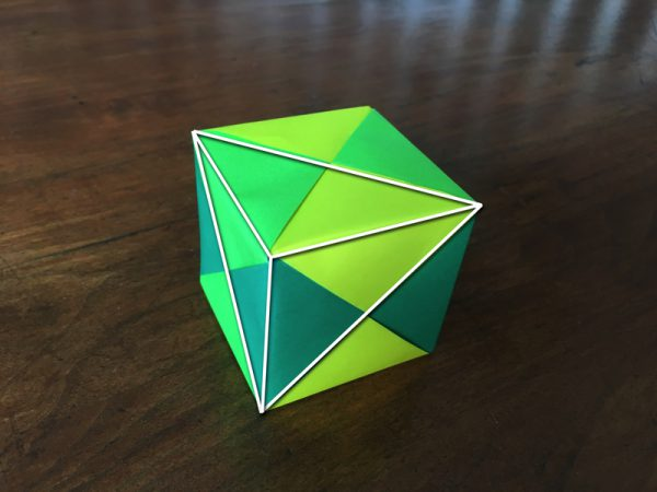 Cube, with a tetrahedron formed from four adjacent corners highlighted.