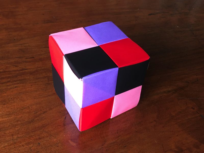 Cube with 2 by 2 grid on each face