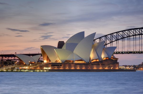 Photo of the Sydney Opera House in the evening