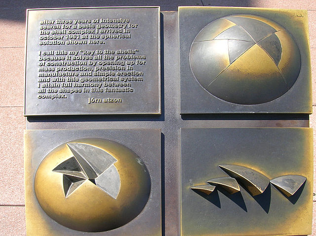 Brass plaque showing how the shells are pieces of the same sphere