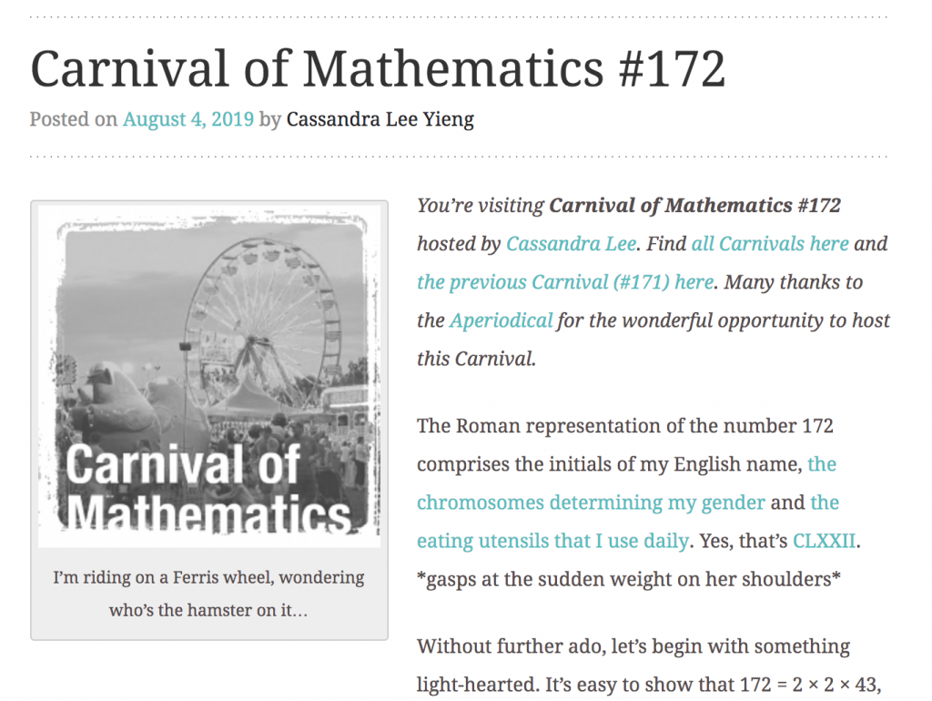 Carnival of Maths 172