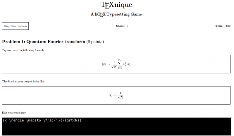 Screenshot of TeXnique. A box showing the target formula above a box showing a rendering of code typed in the box below.