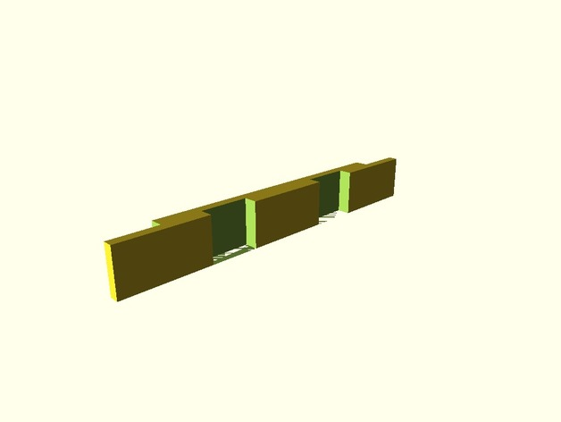 3D rendering of one plank. On one side it has notches cut out of the ends, and on the other it has notches cut out of the middle.