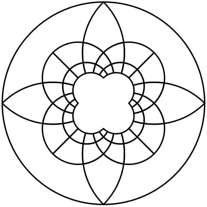 Simplified circle from centre of tessellated squares design