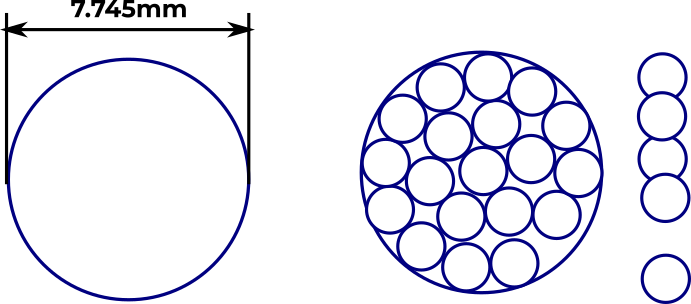 19 of 24 circles packed into a 7.8mm diameter circle, with the remainder arranged in an exclamation mark