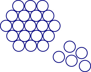 19 circles arranged in a hexagon, with 5 more nearby
